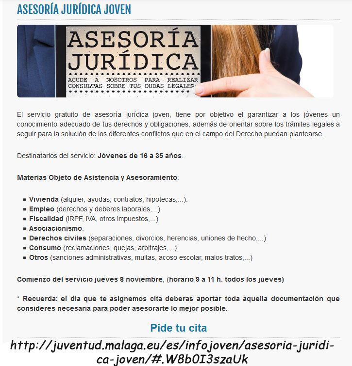Asesoramiento Jurídico GRATUITO desde el área de Juventud del Ayuntamiento de Málaga