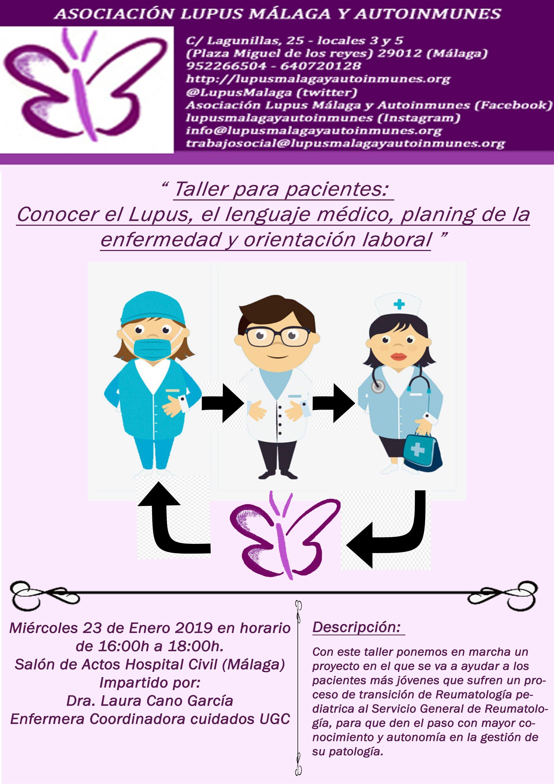 Próximo taller para pacientes con el servicio de Reumatología. 23 de Enero de 2019 a las 16:00h. – 18:00h.