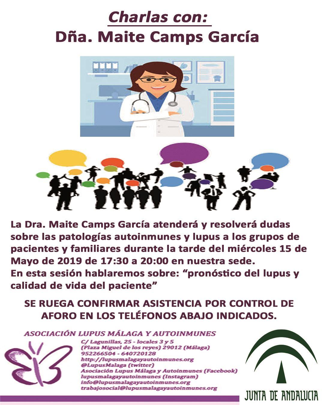 Charlas con la Dra. Maite Camps García – Miércoles 15 de Mayo