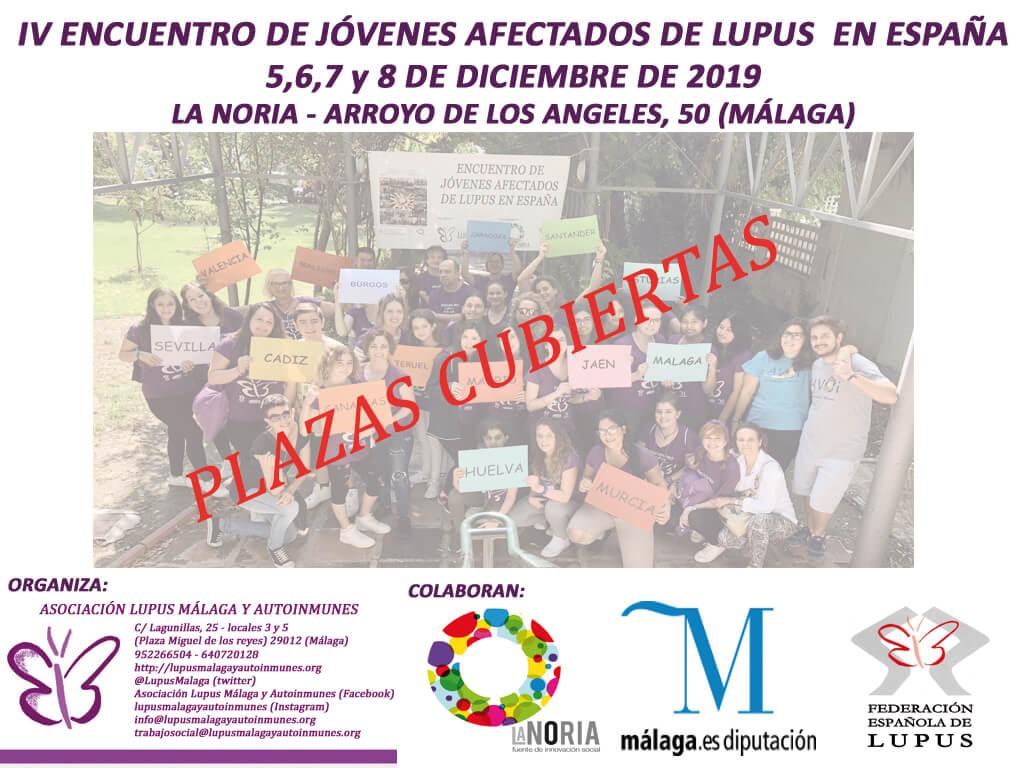 Plazas cubiertas IV Encuentro de jóvenes afectados de Lupus en España