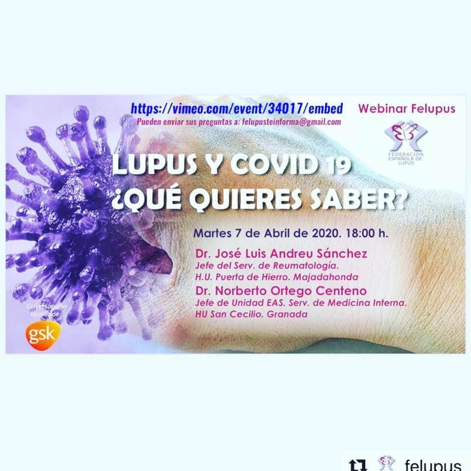 """""""webinar"""" Lupus y COVID19 ¿Qué quieres saber? – Acceso al enlace de la Webinar grabada."""