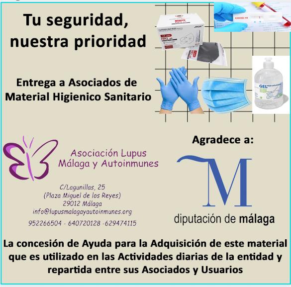 Agradecimiento a Diputación de Málaga – Material Higiénico sanitario